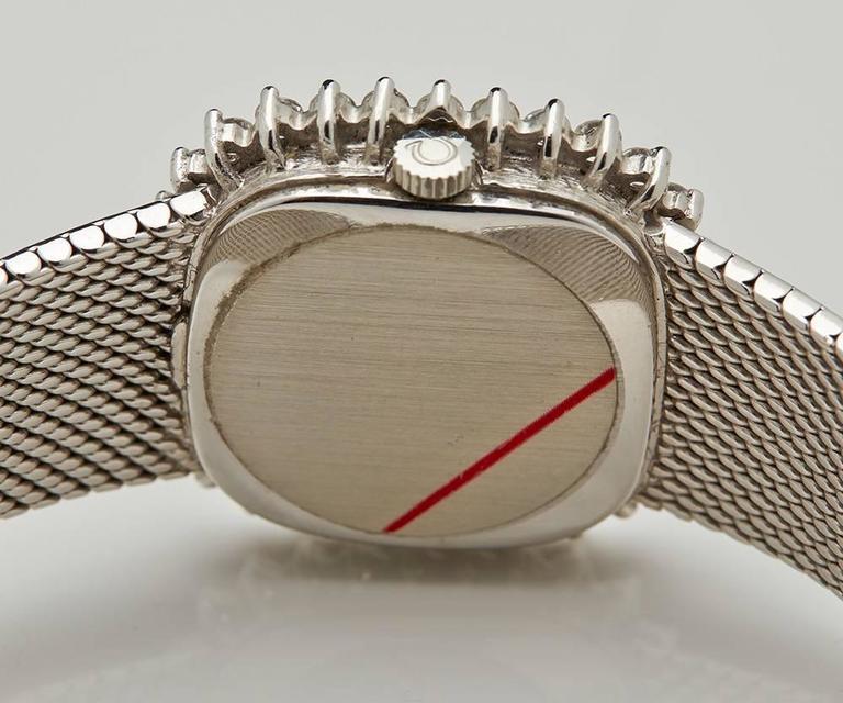 Omega Ladies De Ville White Gold Diamonds Mechanical Manual Wind Wristwatch 2