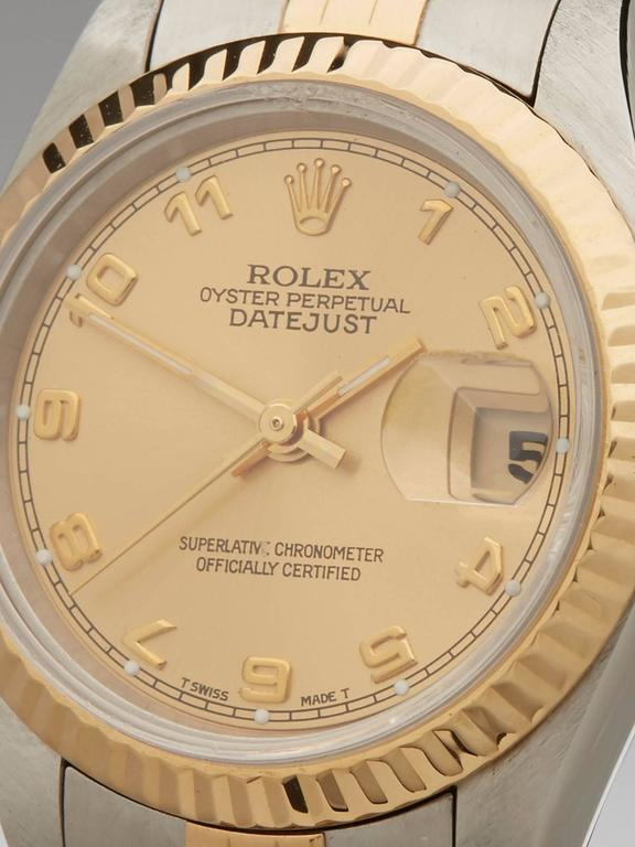 Rolex Ladies Yellow Gold Stainless Steel Datejust Automatic Wristwatch  In Excellent Condition For Sale In Bishop's Stortford, Hertfordshire