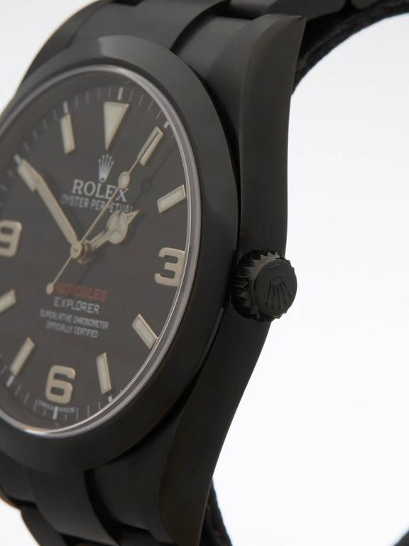 Men's  Rolex Stainless Steel Explorer I Hercules Custom DLC Coated Wristwatch For Sale