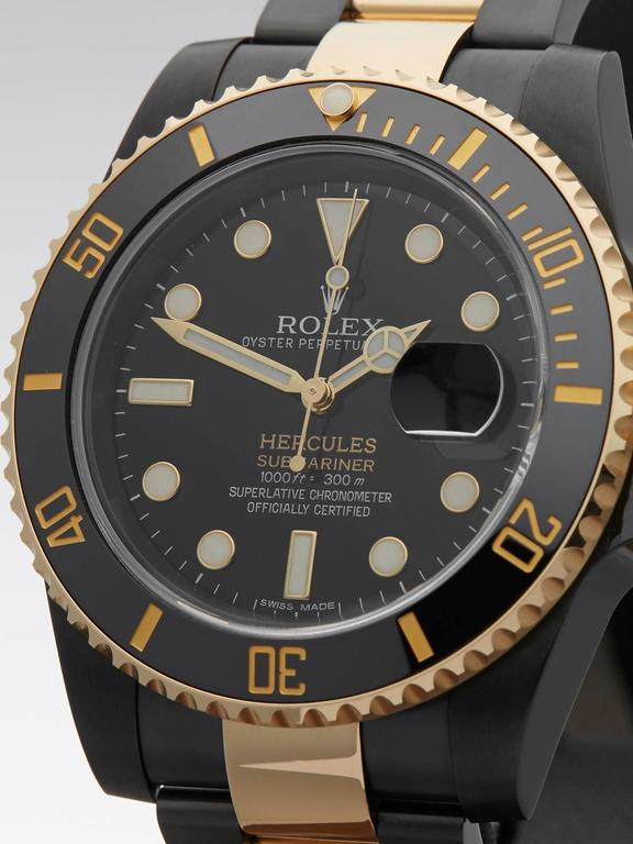 Rolex Custom Gold Steel DLC Coated Submariner Hercules Automatic Wristwatch In Excellent Condition For Sale In Bishop's Stortford, GB