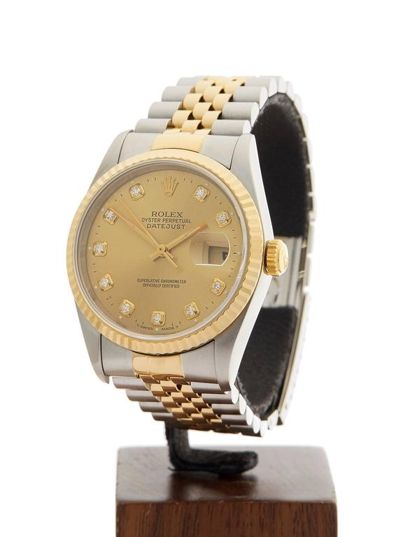 Rolex Yellow Gold Stainless Steel Datejust Diamond Dial Automatic Wristwatch 2