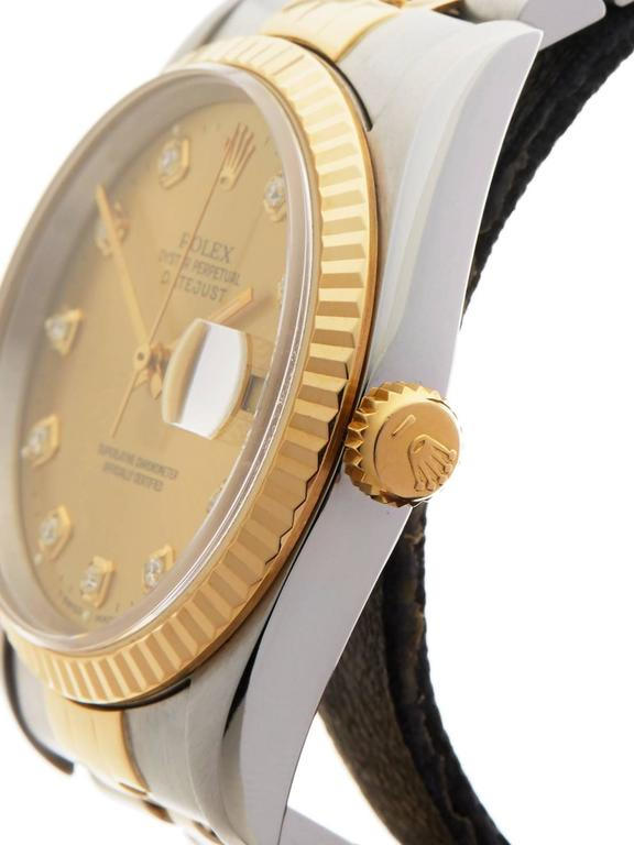 Rolex Yellow Gold Stainless Steel Datejust Diamond Dial Automatic Wristwatch 3