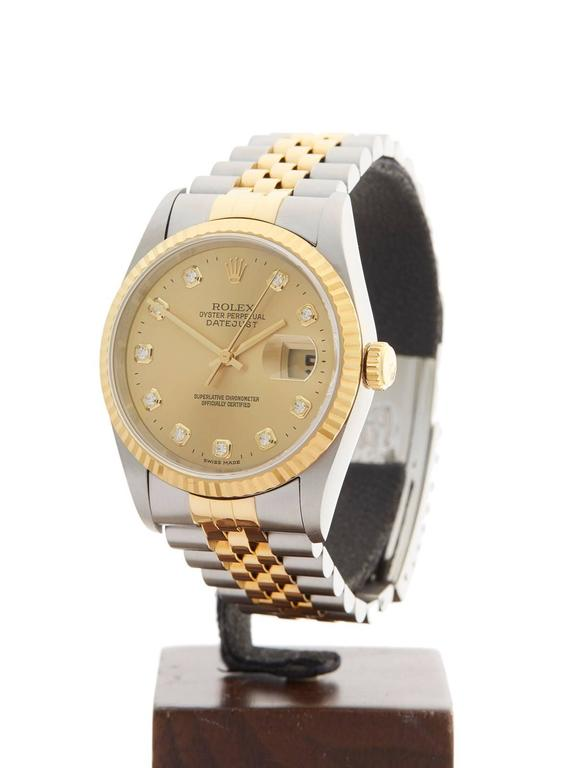 Rolex Stainless Steel Yellow Gold Datejust Diamond Dial Automatic Wristwatch 2