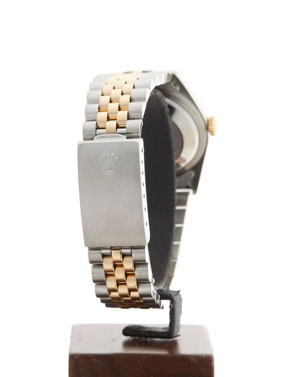 Rolex Stainless Steel Yellow Gold Datejust Diamond Dial Automatic Wristwatch For Sale 3