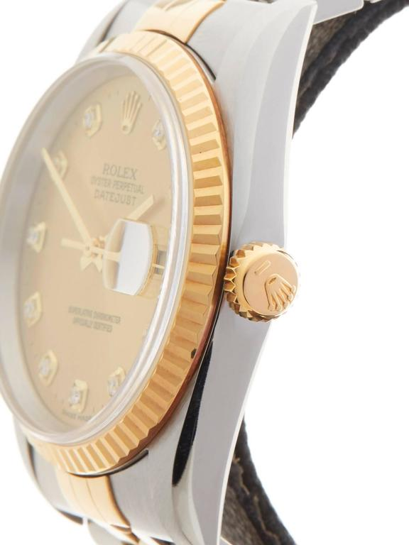 Women's or Men's Rolex Stainless Steel Yellow Gold Datejust Diamond Dial Automatic Wristwatch For Sale