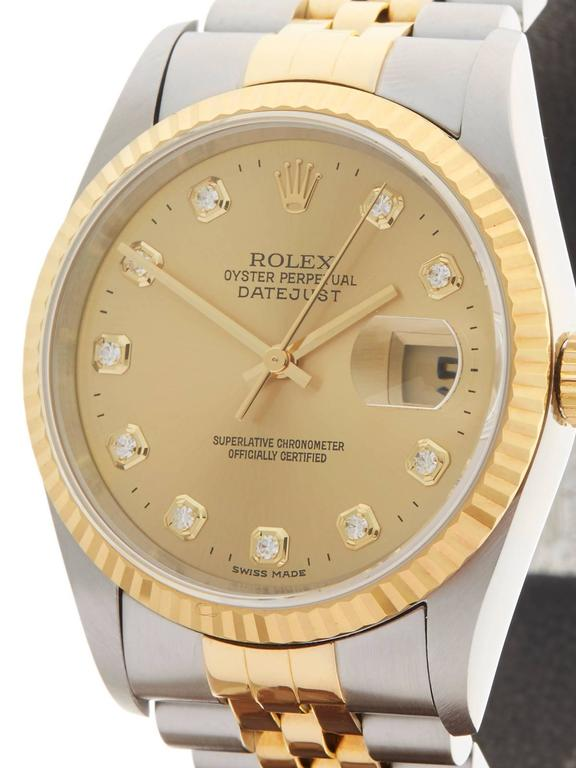 Rolex Stainless Steel Yellow Gold Datejust Diamond Dial Automatic Wristwatch In As New Condition For Sale In Bishop's Stortford, Hertfordshire