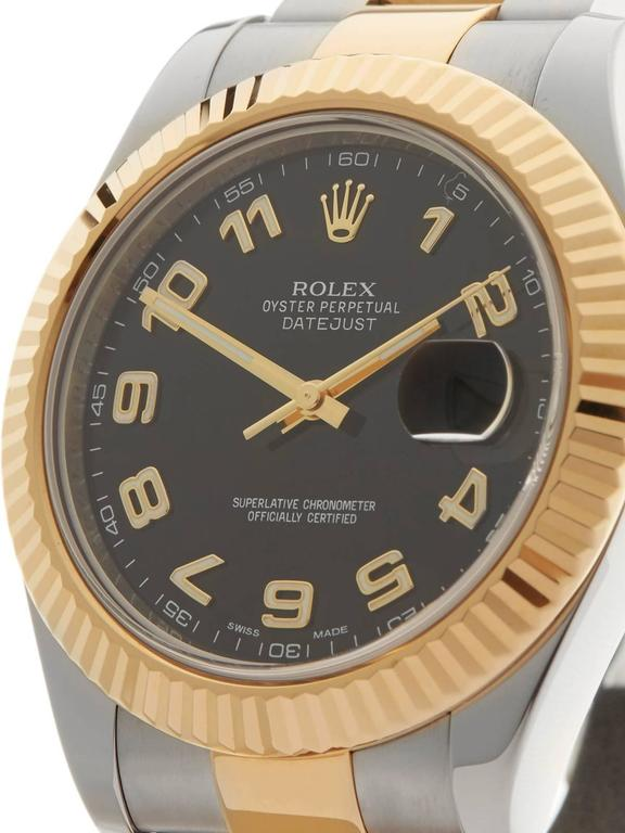 Rolex Datejust II Stainless Steel/18 Karat Yellow Gold Gents 116333, 2013 In Excellent Condition For Sale In Bishop's Stortford, GB