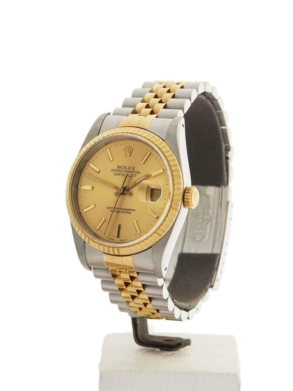 Rolex Datejust Stainless Steel/18 Karat Yellow Gold Unisex 16233 2