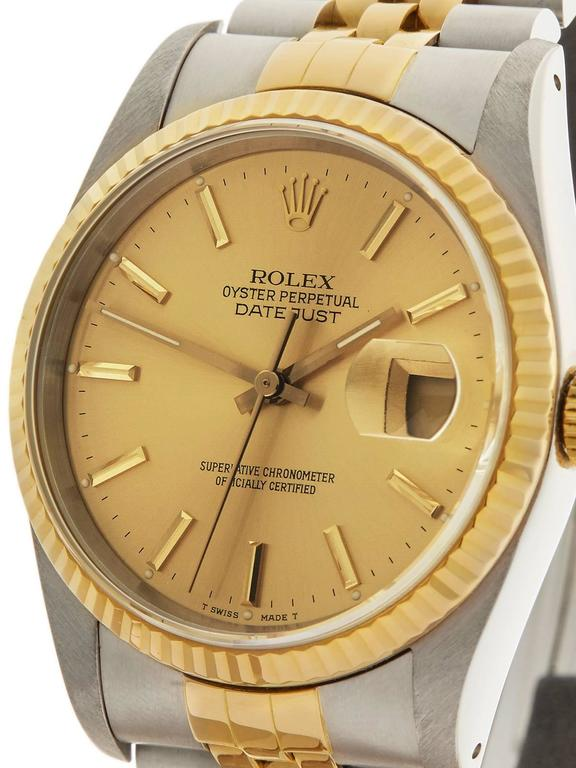 Rolex Datejust Stainless Steel/18 Karat Yellow Gold Unisex 16233 3