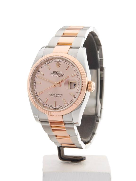 Ref: W3713 Model: 116231 Serial: G62**** Condition: 9 - Excellent condition Age:	3rd April 2013 Case Diameter: 36 mm Case Size: 36mm Box and Papers: Box, Manuals and Guarantee Movement: Automatic Case: Stainless Steel/18k Rose Gold Dial: Rose