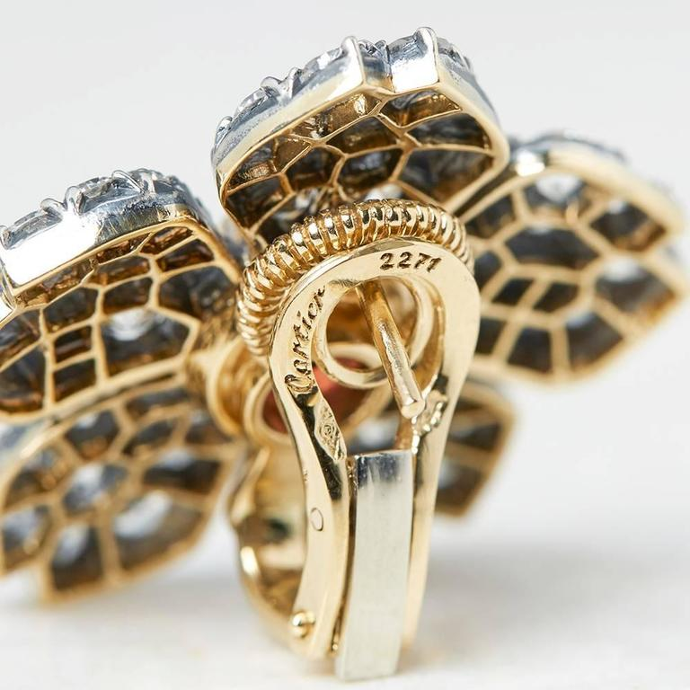 Cartier 18 Karat White Gold Pink Tourmaline & Diamond Vintage Earrings For Sale 2