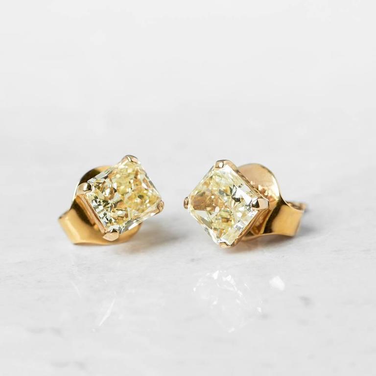 Serial Earrings: Graff Diamonds Yellow Gold 2.66 Carat Yellow Diamond Stud