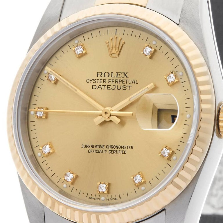 Rolex Yellow Gold Stainless Steel Datejust Automatic Wristwatch Ref W3987 In Excellent Condition For Sale In Bishop's Stortford, Hertfordshire