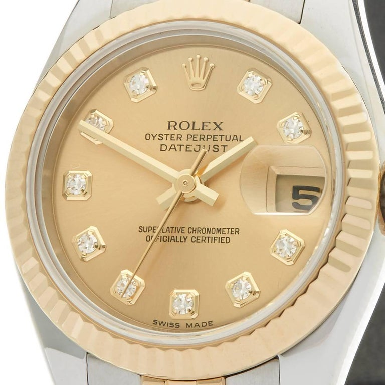 Rolex Ladies Yellow Gold Stainless Steel Datejust Automatic Wristwatch Ref W3985 3