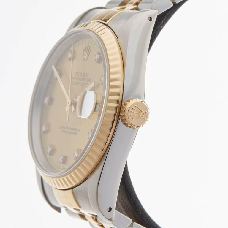 Women's or Men's Rolex Yellow Gold Stainless Steel Datejust Automatic Wristwatch Ref 16233, 1991 For Sale