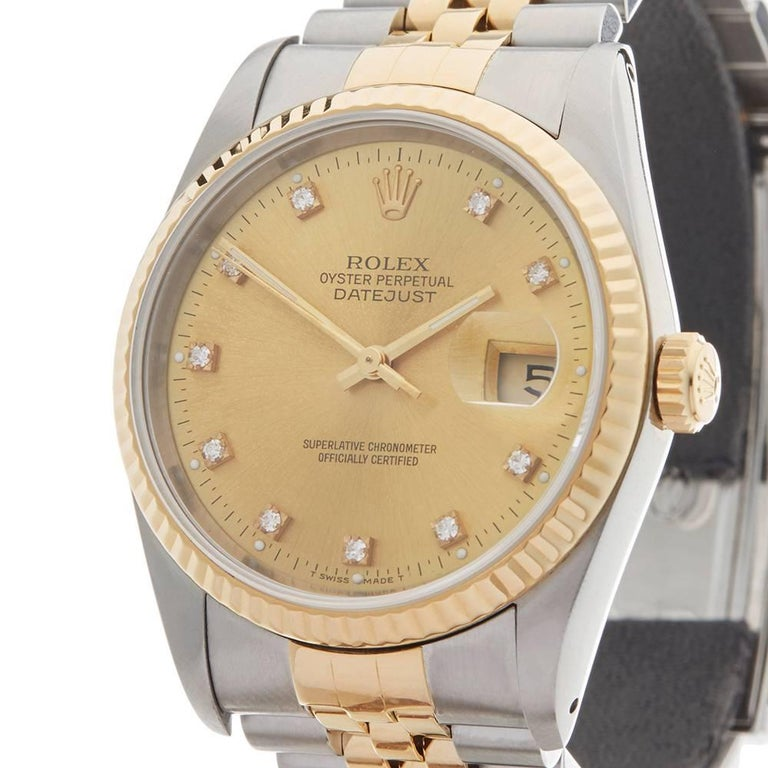 Rolex Yellow Gold Stainless Steel Datejust Automatic Wristwatch Ref 16233, 1991 In Excellent Condition For Sale In Bishop's Stortford, Hertfordshire