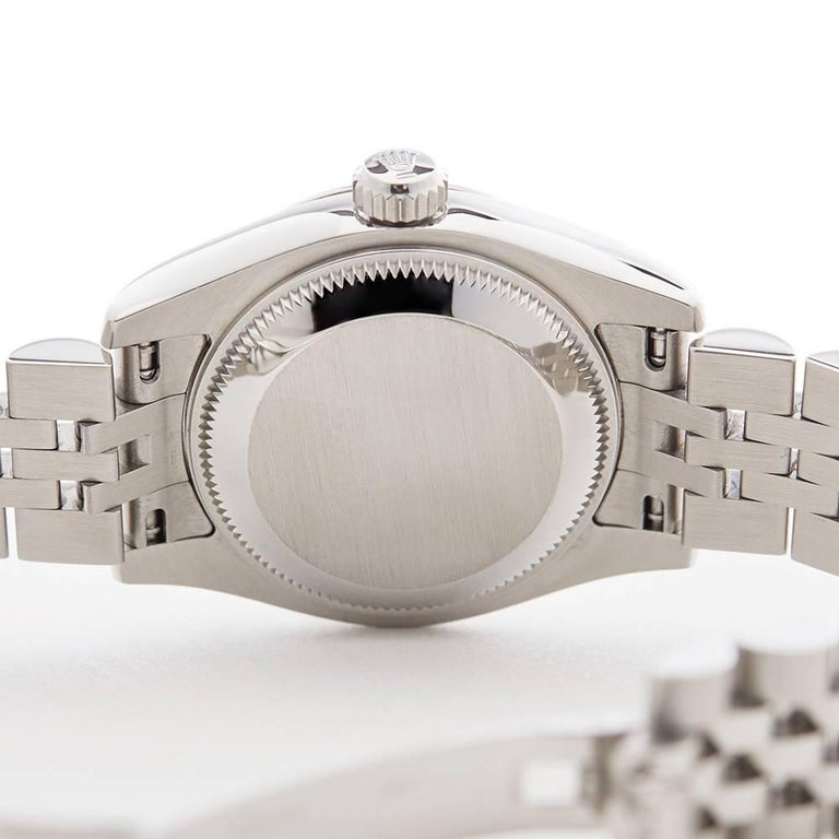 Rolex Ladies White Gold Stainless Steel Datejust Automatic Wristwatch, 2011 For Sale 4
