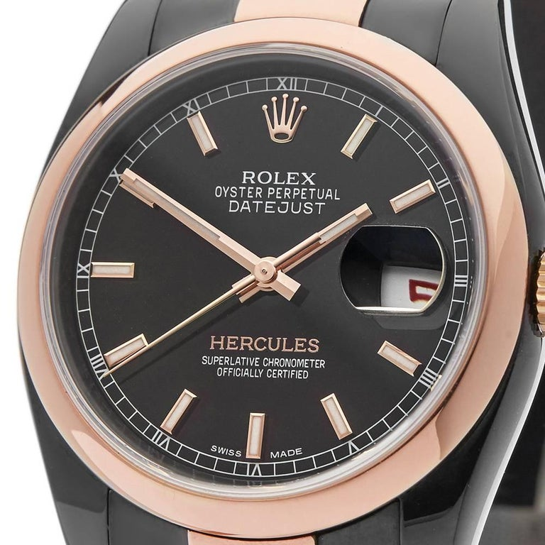 Rolex Rose Gold Stainless Steel Datejust Hercules Automatic Wristwatch In Excellent Condition For Sale In Bishop's Stortford, Hertfordshire