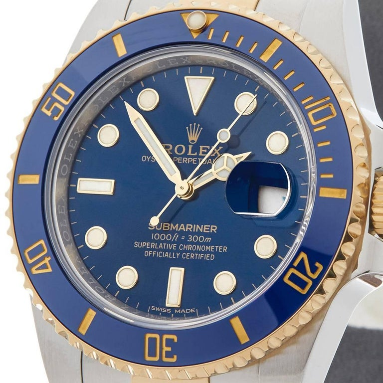Rolex Yellow Gold Stainless Steel Submariner Automatic Wristwatch, 2017 3