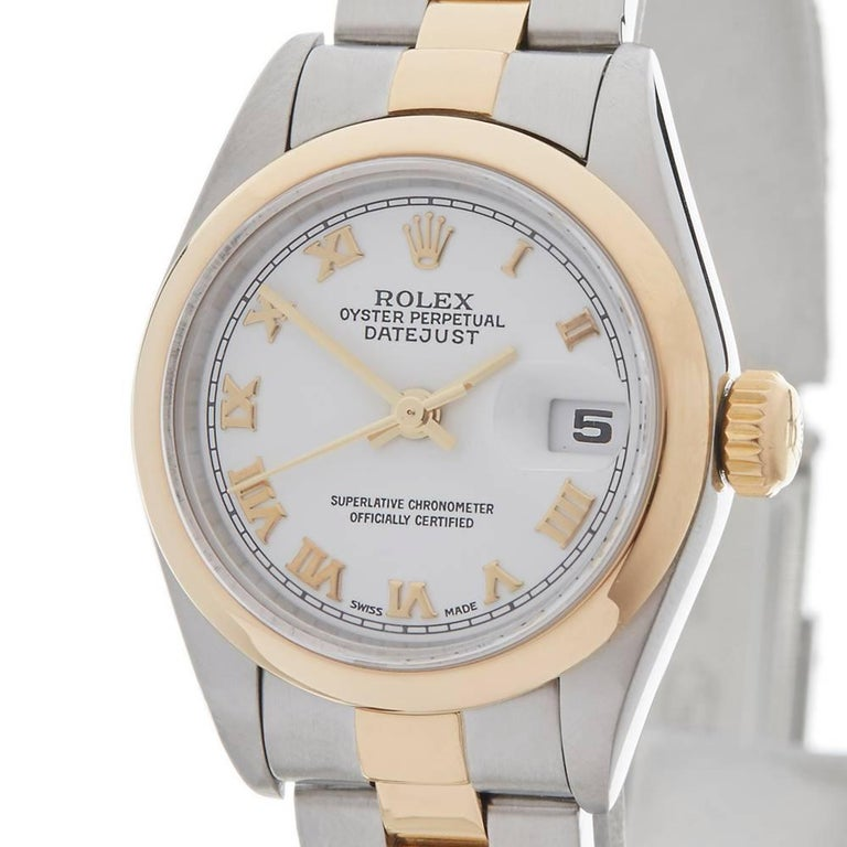 Rolex Ladies Yellow Gold Stainless Steel Datejust Automatic Wristwatch Ref 79173 In Excellent Condition For Sale In Bishop's Stortford, Hertfordshire