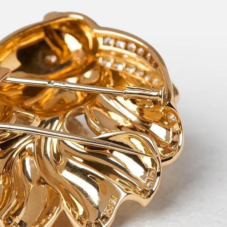 Women's Van Cleef & Arpels 18 Karat Yellow Gold Diamond Vintage Fish Brooch For Sale