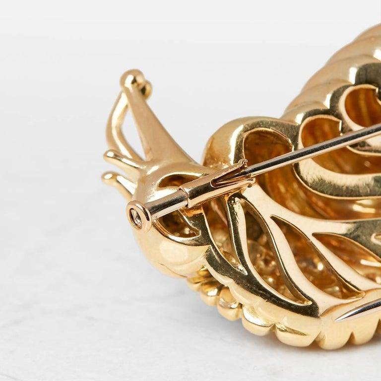 Women's Rene Boivin 18 Karat Yellow Gold Diamond Vintage Snail Brooch For Sale
