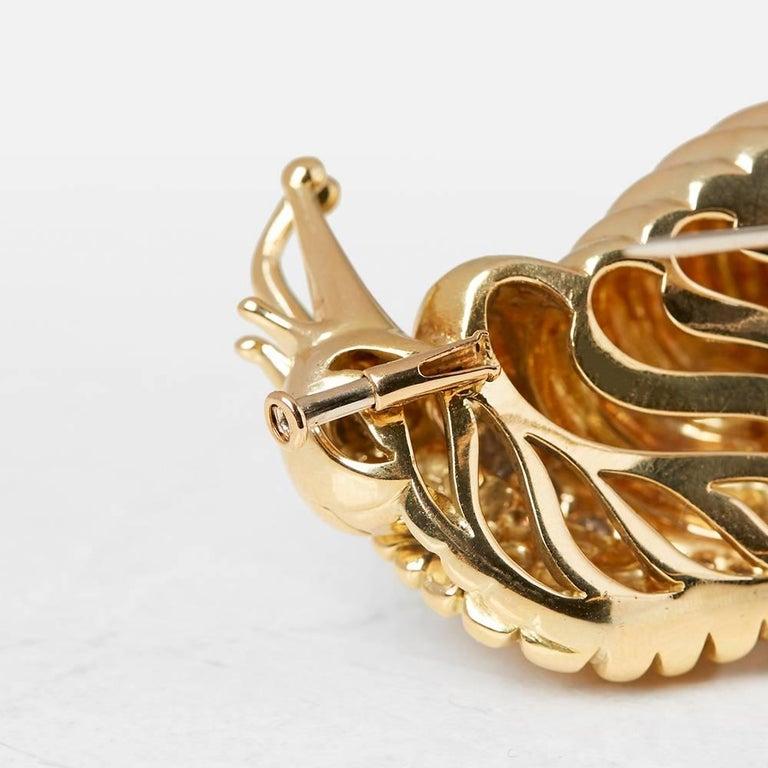 Rene Boivin 18 Karat Yellow Gold Diamond Vintage Snail Brooch For Sale 2