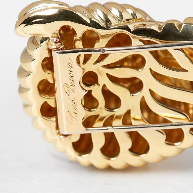 Rene Boivin 18 Karat Yellow Gold Diamond Vintage Snail Brooch For Sale 3