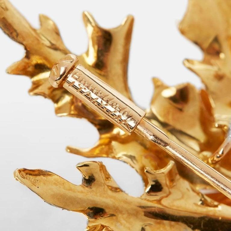 Buccellati 18 Karat Yellow, White & Rose Gold Vintage Thistle Brooch For Sale 1