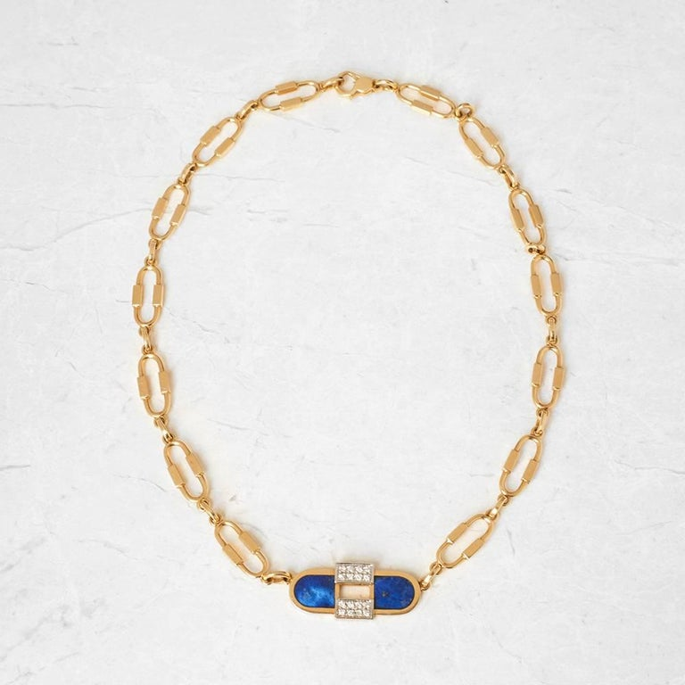 Cartier 18 Karat Yellow Gold Lapis Lazuli & Diamond Vintage Necklace  For Sale 1