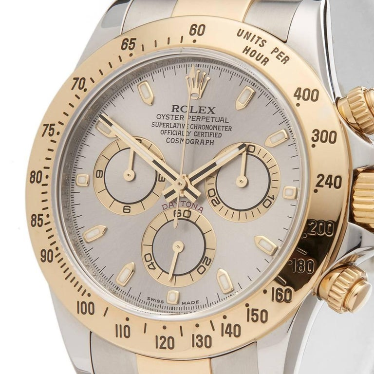 Rolex Yellow Gold Stainless Steel Daytona Chronograph Automatic Wristwatch 3