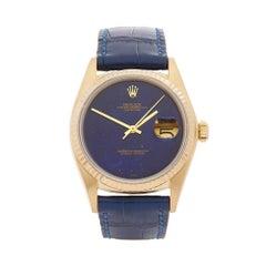 Rolex Datejust Lapis Lazuli 18 Karat Yellow Gold Gents 16018