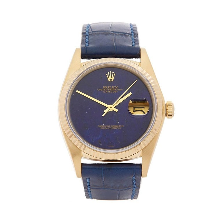 Rolex Datejust Lapis Lazuli 18 Karat Yellow Gold Gents 16018