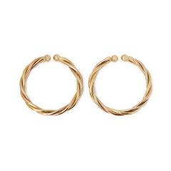 Cartier 18 Karat Yellow, White & Rose Gold Trinity Hoop Earrings