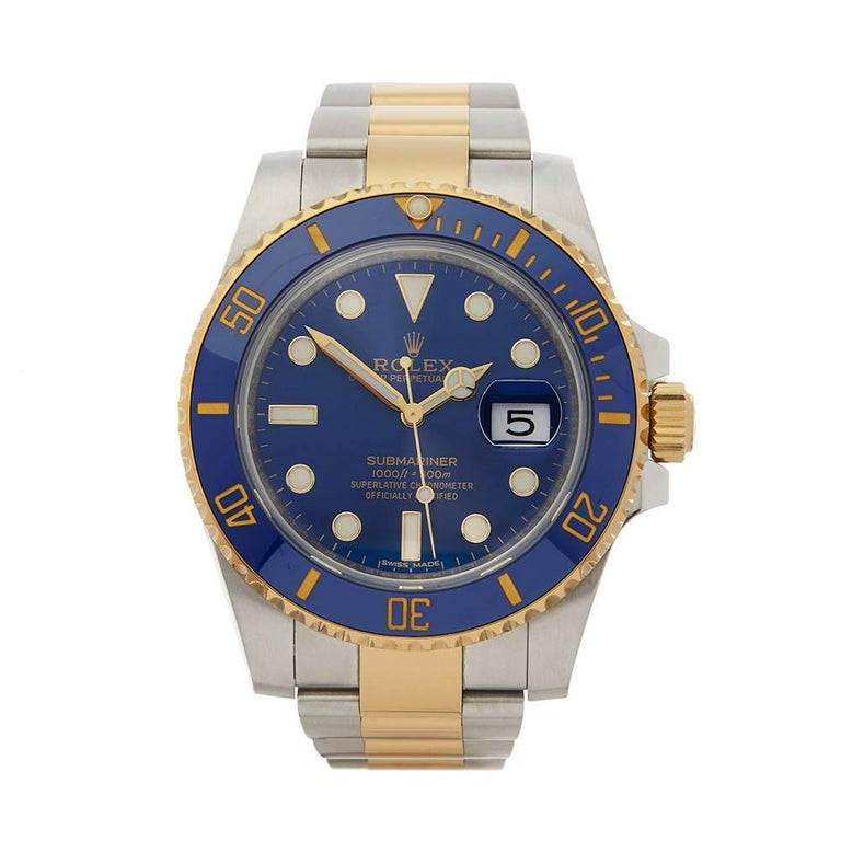 Rolex Submariner Stainless Steel and 18 Karat Yellow Gold Men's 116613lb