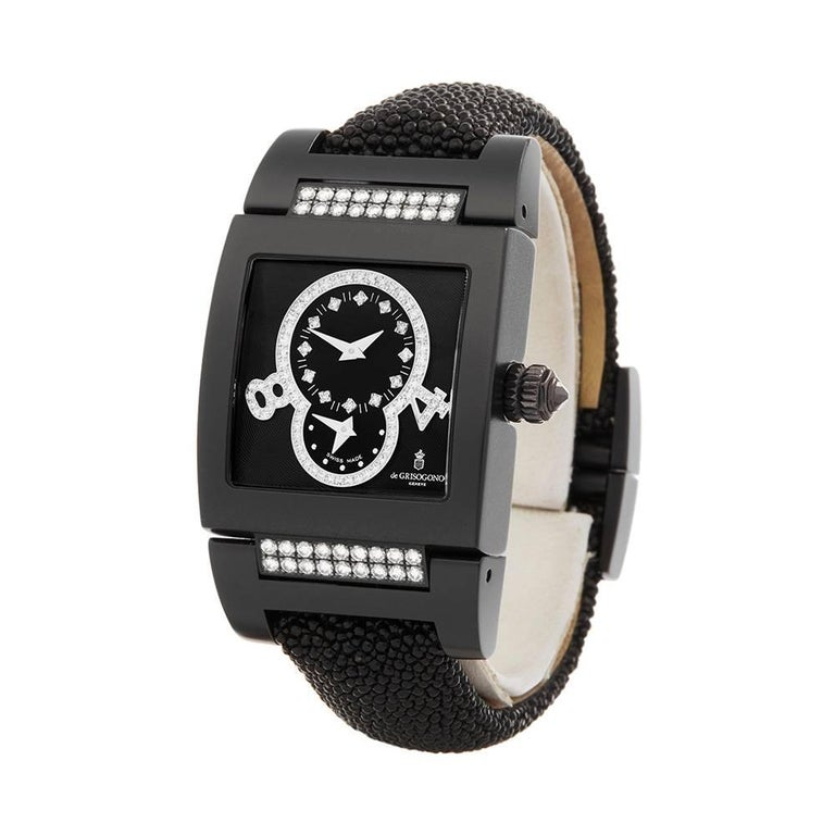 Ref: COM1596 Manufacturer: De Grisogono Model: Instrumento Model Ref:  Age:  Gender: Ladies Complete With: Xupes Presentation Box Dial: Black Arabic Glass: Sapphire Crystal Movement: Automatic Water Resistance: To Manufacturers Specifications Case: