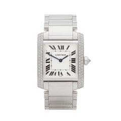 Cartier Tank Francaise Diamond 18 Karat White Gold 2404MG