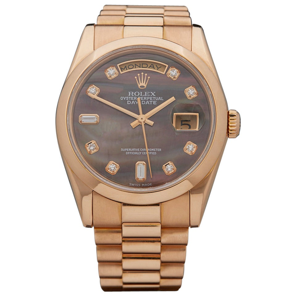Rolex Lady's Rose Gold Mother-of-Pearl Dial Automatic Wristwatch Ref 118205 1