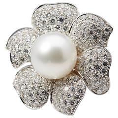 Picchiotti South Sea Pearl Diamond Gold Flower Ring
