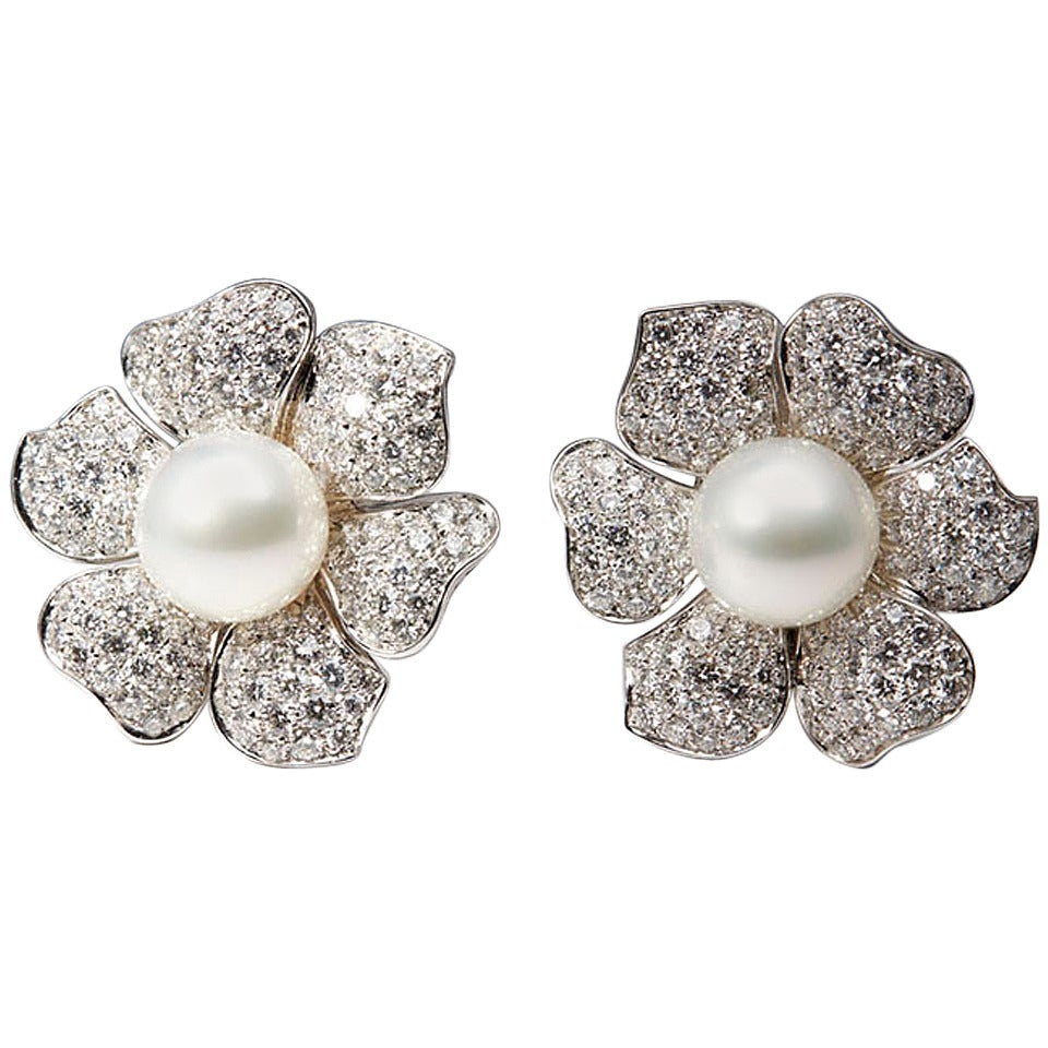 Picchiotti South Sea Pearl Diamond Gold Flower Earrings 1