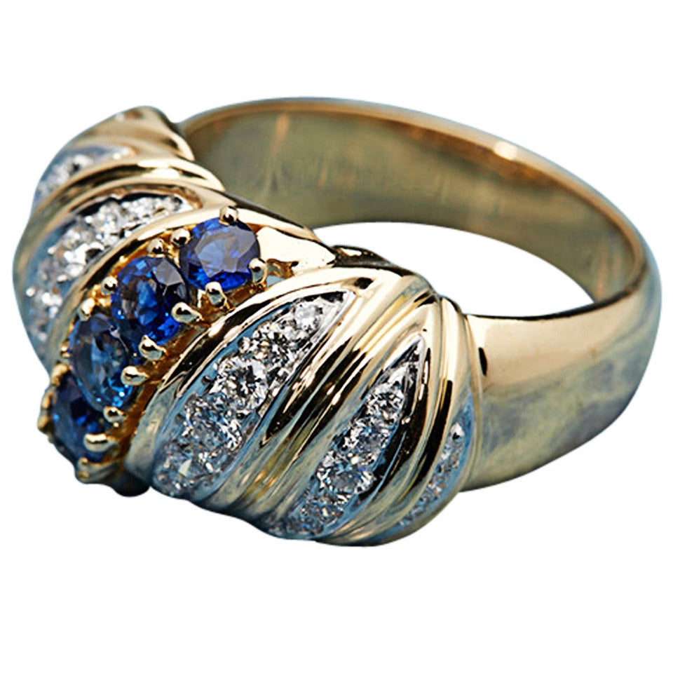 1980s Tiffany & Co. Sapphire Diamond Gold Band Ring