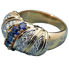1980s Tiffany & Co. Sapphire Diamond Gold Band Ring