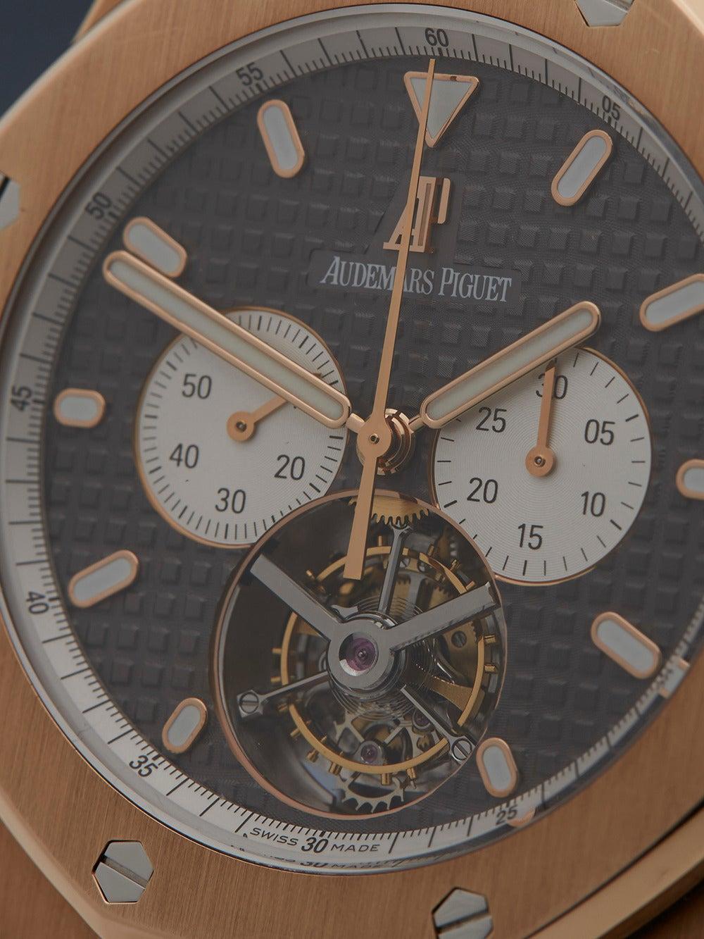 4885dfdfbfb Audemars Piguet Rose Gold Royal Oak XL Tourbillon Wristwatch Ref 25977 In  Excellent Condition For Sale