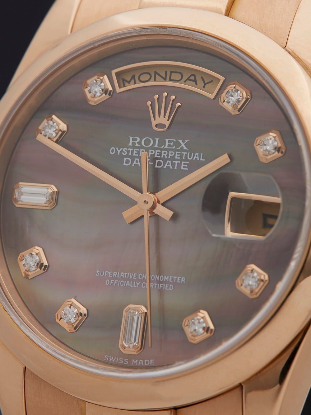 Rolex Lady's Rose Gold Mother-of-Pearl Dial Automatic Wristwatch Ref 118205 3