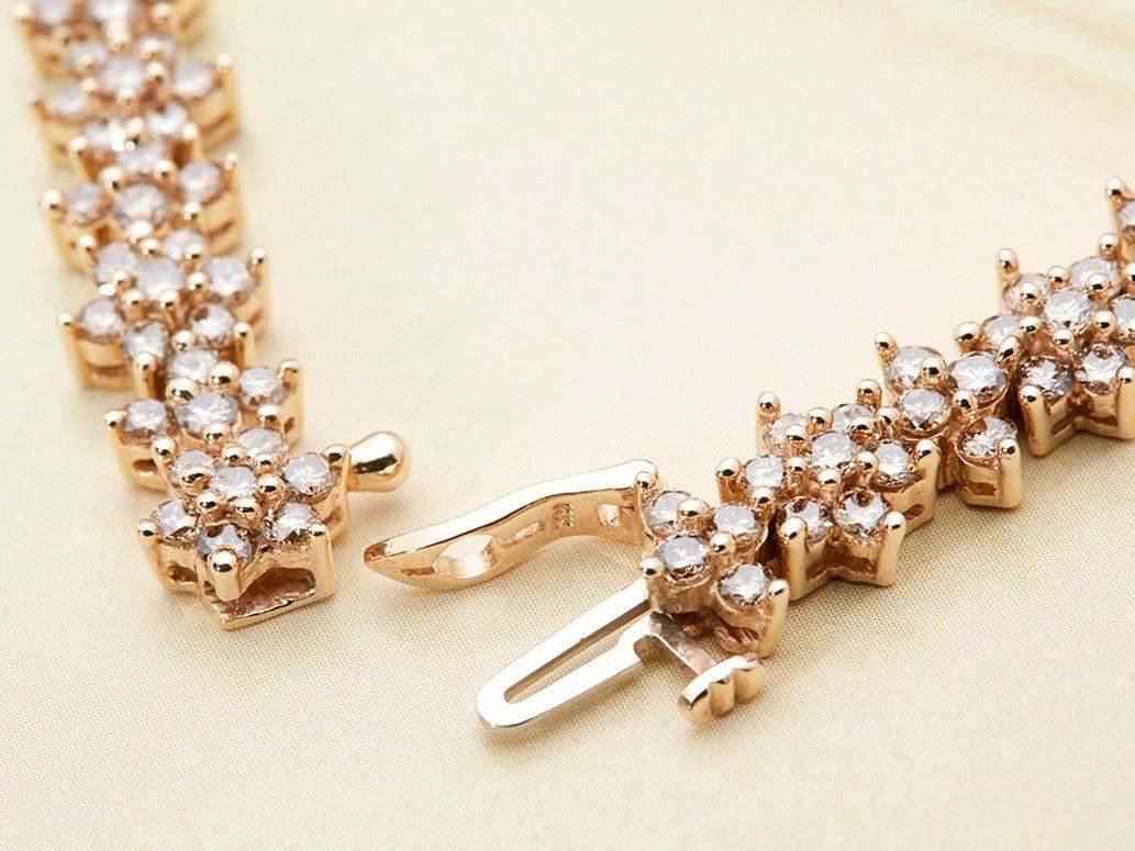 Women's Fancy Yellow Diamond Gold Flower Tennis Bracelet For Sale