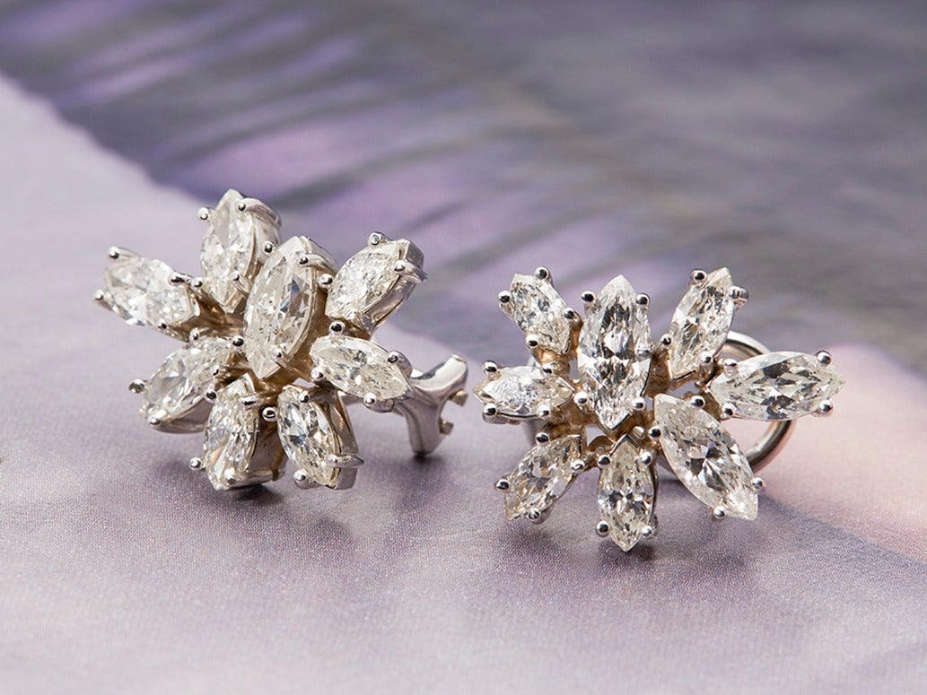 1950s platinum cluster earrings at 1stdibs
