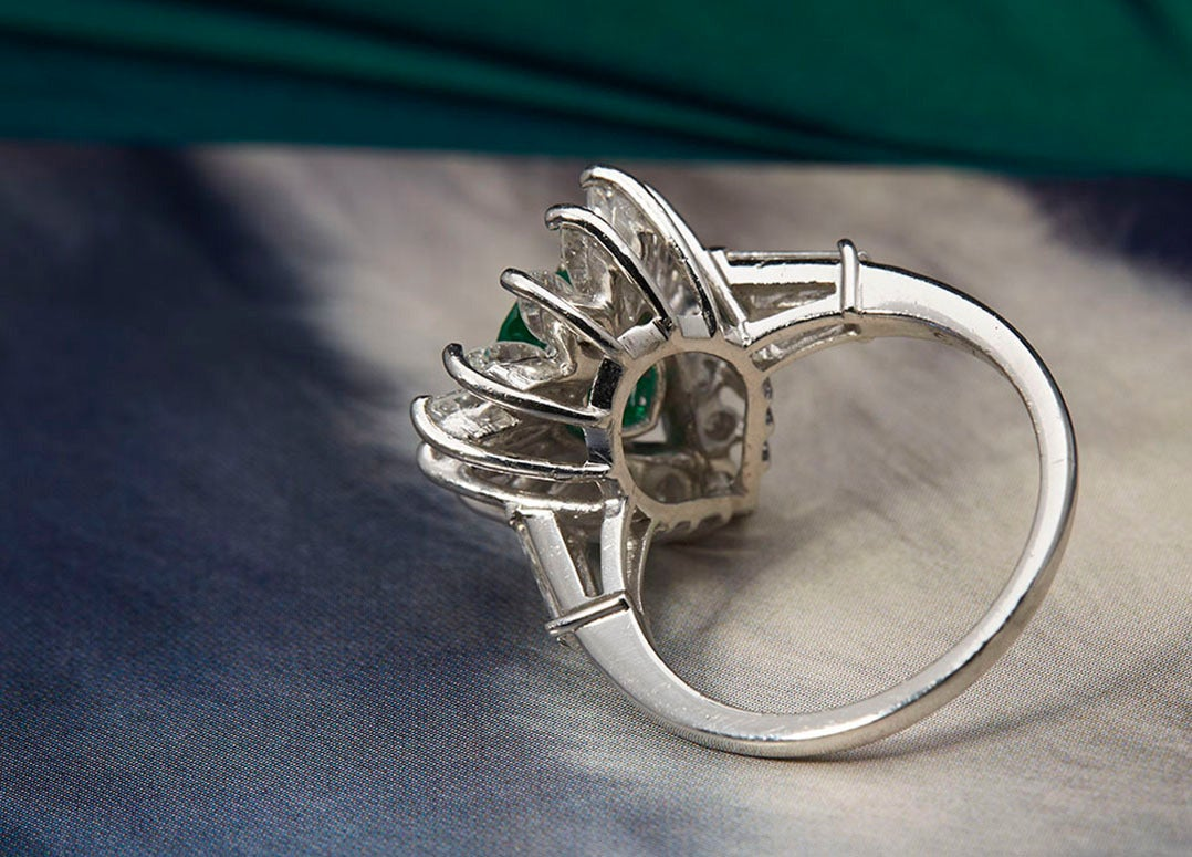 1950s Colombian Emerald Diamond Platinum Cocktail Ring 3