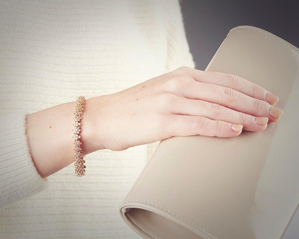 Fancy Yellow Diamond Gold Flower Tennis Bracelet For Sale 1