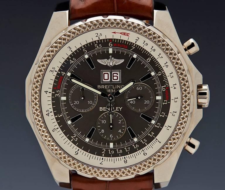 Breitling White Gold Bentley 6 75 Chronograph Limited Edition Wristwatch