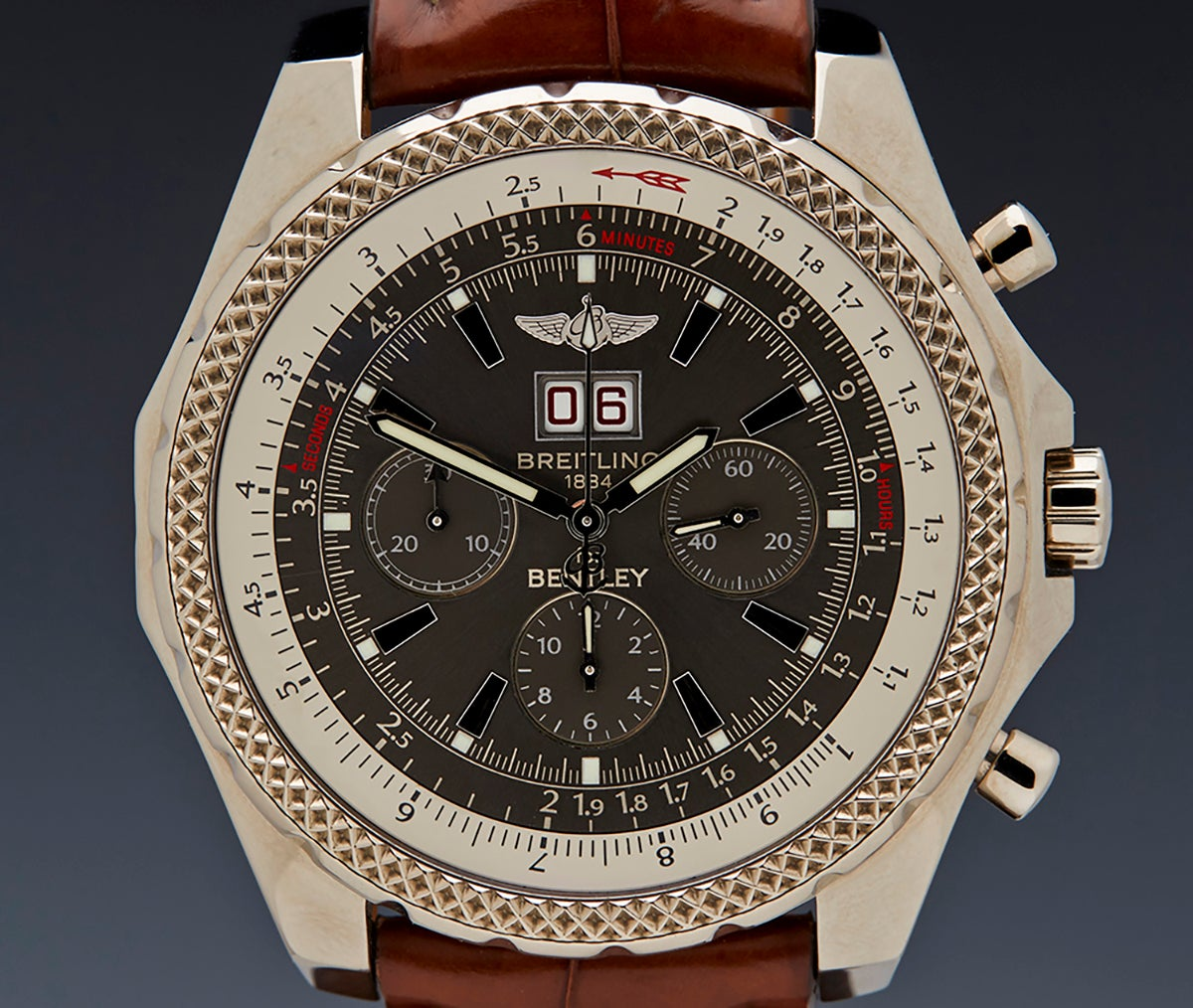 Breitling White Gold Bentley 6 75 Chronograph Limited Edition Wristwatch At 1stdibs
